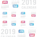 White background New Year calendar 2019 Vector
