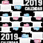 White background New Year calendar 2019 Vector