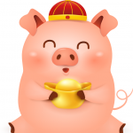Piglet Holding Yuanbao 2019 Vector