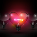 Electric lights illuminate Valentine's Day 2019 Vector