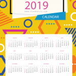 Multi-format New Year Calendar 2019 Vector
