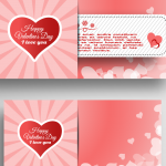 Pink Cartoon Valentine's Day Card Template 2019 Vector