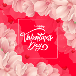 Pink Flowers Valentine's Day 2019 Vector