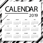 Black-and-white streamlined New Year calendar 2019 Vector