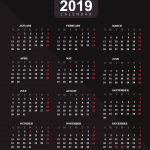 Black Classic New Year Calendar 2019 Vector