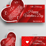 Greeting cards with red snowflake boards 2019 Vector