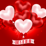 Red and pink heart-shaped balloons 2019 Vector