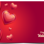 Cards with red heart and red background 2019 Vector