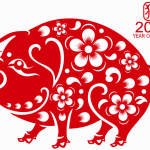 Flower paper-cut pig 2019 Vector