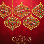 Golden hanging ornaments 2019 Vector