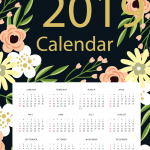 Cartoon Flower New Year Calendar 2019 Vector