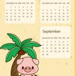 Cartoon Piglet New Year Calendar 2019 Vector