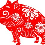 Lovely fortune paper cut pig 2019 Vector