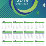 Blue Curve New Year Calendar 2019 Vector