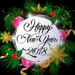 Green Plants Decorate New Year 2019 Vector