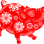 Cute cute paper-cut pig 2019 Vector
