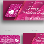 Valentine's Day Pink Greeting Card Template 2019 Vector