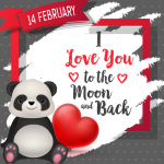 Gift of Panda on Valentine's Day 2019 Vector