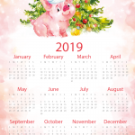 Water color pig new year calendar 2019 Vector