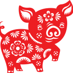Naughty paper-cut pig 2019 Vector
