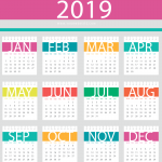 Multi-color New Year Calendar with Document Holes 2019 Vector