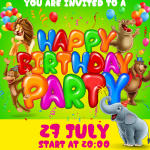 New Year's Birthday Party for Small Animals 2019 Vector