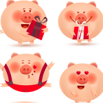 New Year's Gifts for Piglets 2019 Vector