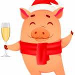 Piggy raised his glass to celebrate the New Year 2019 Vector