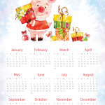Piggy New Year gift calendar 2019 Vector