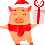 Piggy presents New Year's gifts 2019 Vector