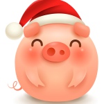 New Year's lovely round pig 2019 Vector