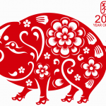 Lovely paper-cut pig in New Year 2019 Vector