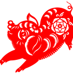 Chinese New Year paper-cut pig 2019 Vector