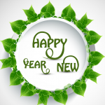 New Year's greetings to greet the green leaves 2019 Vector