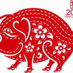 China's Spring Festival paper cutting pig 2019 Vector