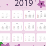 Purple Flowers Pink New Year Calendar 2019 Vector