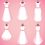 White Wedding Dress Design 2019 Vector