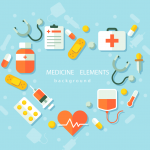 Flattened Medical Elements Combination Love 2019 Vector
