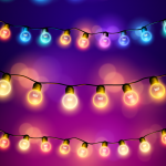 Festival Hanging Decoration with Colored Lanterns 2019 Vector