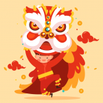 Creative Festival Dance Lion Boy 2019 Vector