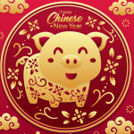 Golden smiley face pattern pig greeting card 2019 Vector