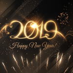 Golden Fireworks Artistic Characters 2019 Vector