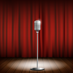 Microphone and Red Curtain Stage 2019 Vector