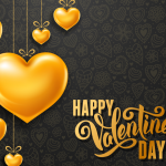 Golden Heart on Valentine's Day 2019 Vector