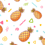Hand-painted pineapple background 2019 Vector