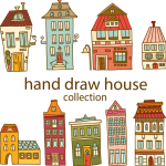 Hand-painted houses 2019 Vector