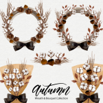 Watercolor paintings of cotton wreaths and bouquets in autumn 2019 Vector