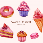 Watercolor Dessert Combination Ring 2019 Vector