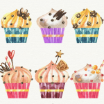Watercolor Cupcakes 2019 Vector