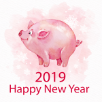 Watercolor new year pig 2019 Vector